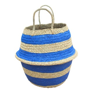 "Brunna ""Stripes Tribes"" Straw Basket Bag, in Blue"