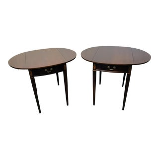 Drexel Inlaid Mahogany Oval Pembroke Tables - a Pair