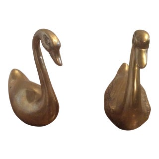 Mid-Century Brass Swans - A Pair