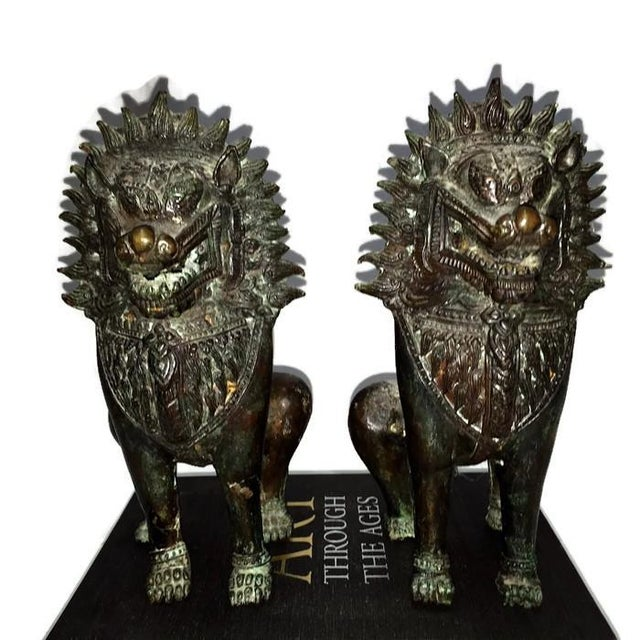 Image of Vintage Bronze Foo Dogs - A Pair