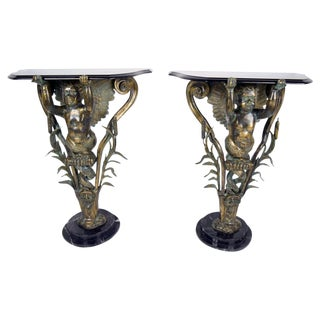 Bronze & Marble Top Side Tables - Pair