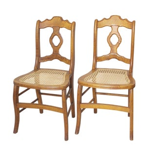 Armless Cane Chairs - A Pair