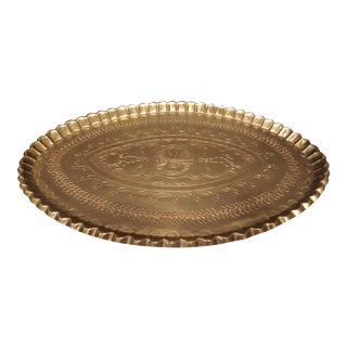 Oval Solid Brass Serving Tray with Scalloped Edges