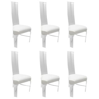 Set of Six Lucite and Chrome Dining Chairs with White Upholstery