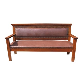 Leather Upholstered Oak Railroad Bench