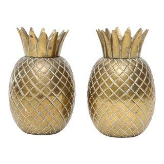 Brass Pineapple Salt & Pepper Shakers - A Pair
