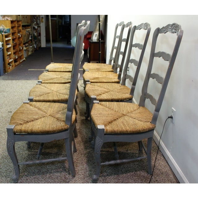 Country French Rush Seat Dining Chairs - Set of 8 - Image 4 of 8