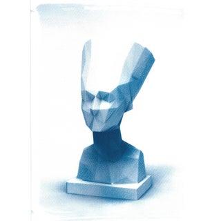 Egyptian Nefertiti Bust Low-Poly Cyanotype Print