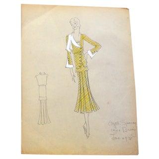 Edith Sparag Original 1930s Yellow Dress Sketch