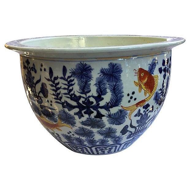 Blue & White Jardinière with Goldfish - Image 3 of 5