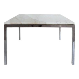 Knoll Studio Stainless Steel and Calacatta Marble Side Table by Florence Knoll