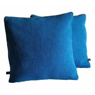 Maharam Kvadrat Coda Wool in Bright Blue Pillow Covers - A Pair
