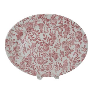 English Cranberry Chintz Platter