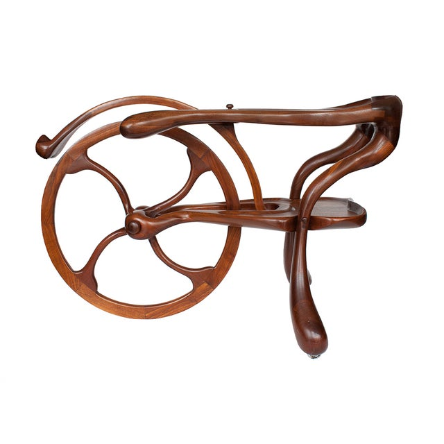 Vintage Studio Sculptural Carved Walnut Bar Cart - Image 1 of 10