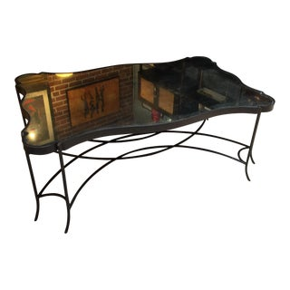 Distressed Iron & Mirror Scalloped Edge Coffee Table