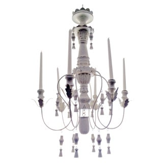 Antique White Wood Chandelier Candelabra