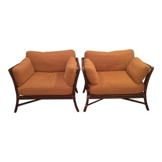 McGuire Target Back Lounge Chairs - A Pair