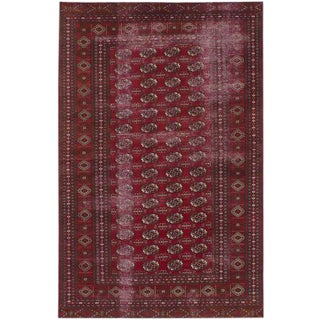 Vintage Rug Hand Knotted Pakistan Red Wool Area Rug - 5' x 7'