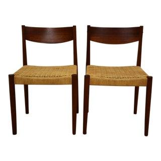Danish Cord Teak Dining Chairs - a Pair