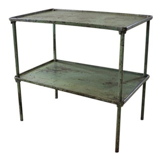 Vintage Industrial Rustic Steel Two-Tier Metal and Cast Iron Adjustable Table