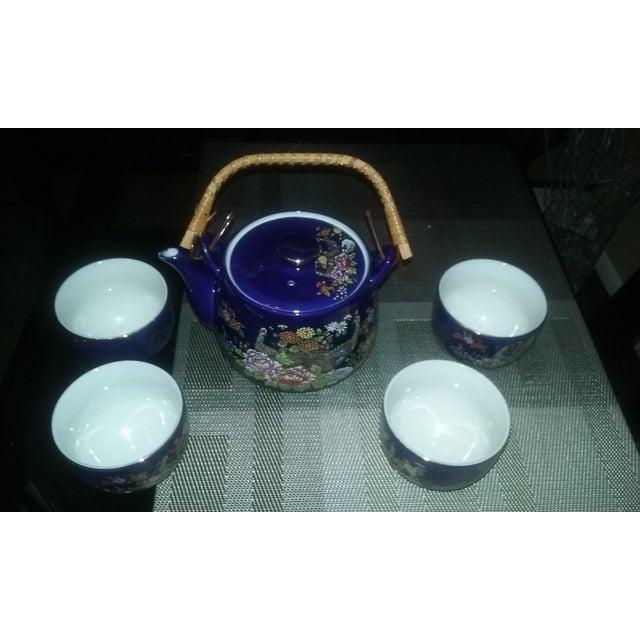 Cobalt Blue Asian Vintage Peacock Tea Set for Four - Image 2 of 3