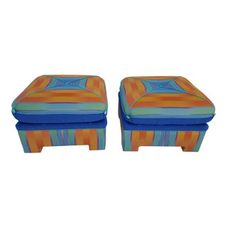 Mid-Century Modern Square Stools / Ottomans - A Pair