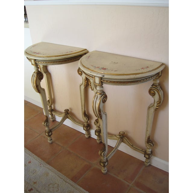 Painted Demilune Side Tables Lamp Tables - Pair - Image 2 of 11