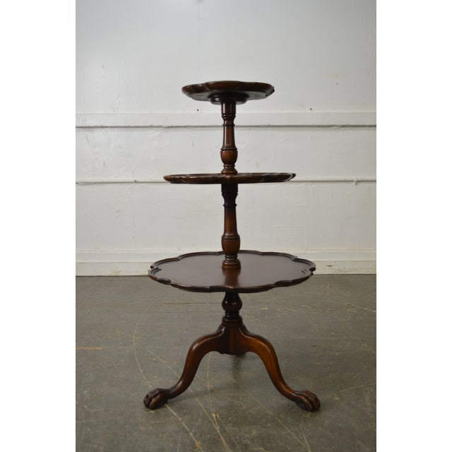 Vintage Mahogany Chippendale Style Claw Foot 3 Tier Dumbwaiter Table - Image 7 of 11