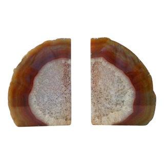 Vintage Crystal Rust Agate Geode Bookends