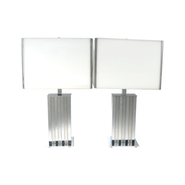 Image of Chrome & Glass Shade Lamps - Pair
