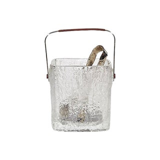 1960s Frosted Ice bucket w/ Tongs