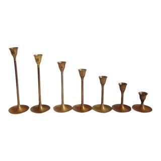 Mid Century Graduated Tulip Base Brass Candlesticks - Set of 7