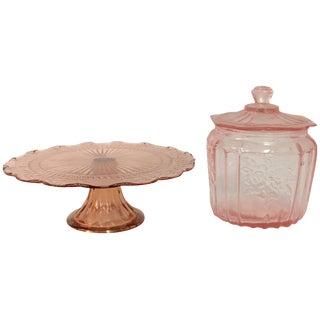 Pink Depression Glass Cake Stand & Jar