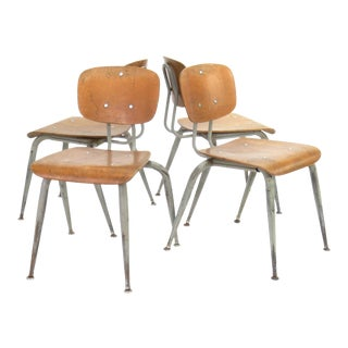 Vintage Industrial/Mid Century Modern Plywood School Chairs - Set of 4
