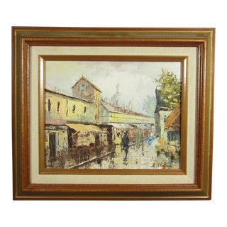 1960s Paris Street Scene Oil Painting