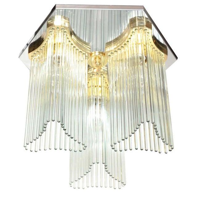 Image of Sciolari Italian Lucite & Brass Chandelier