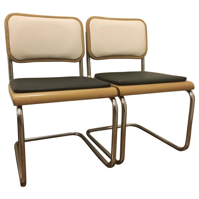 Image of Breuer Cesca Style Armless Chairs - Pair