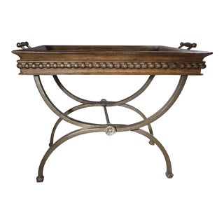 Bamboo Inlay Tray Table on Burnished Iron Stand