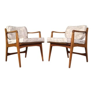 Mid-Century Modern Lounge Chair Swivel Back - A Pair