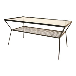Mid-Century Glass Top Metal Coffee Table