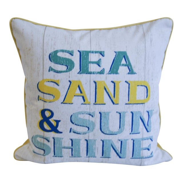 Image of Yellow & White Indoor/Outdoor Decorative Beach Pillow