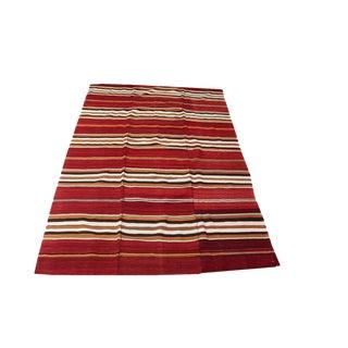 Vintage Turkish Striped Nomadic Kilim