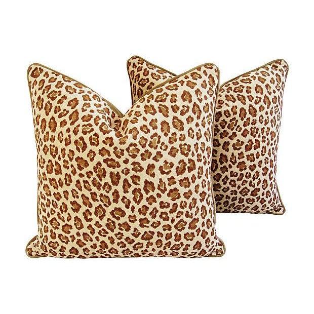 Custom Safari Leopard Velvet Pillows - a Pair - Image 1 of 7