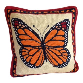 Vintage Needlepoint Butterfly Throw Pillow