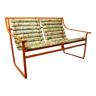 Mid-Century Modern Atomic Orange Samsonite Outdoor Scoop Seat Bench
