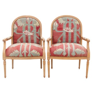 French Style Maple Armchairs - a Pair