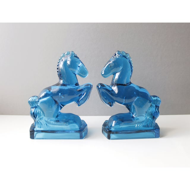 Mid-Century Blue Glass Horse Bookends- A Pair - Image 4 of 5