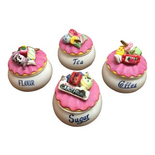 Vintage Sweet Tooth Kitchen Canisters - Set of 4