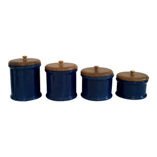 Set of 4 Blue Ceramic Canisters