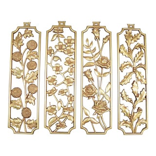 Vintage Mid-Century Metal Floral Wall Panels - Set of 4